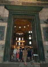 green door frame inside Hagia Sofia, Istanbul, Turkey