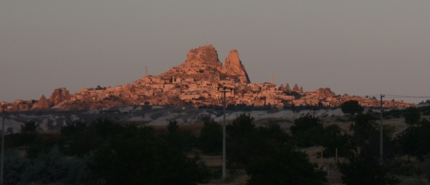 Uchisar as the sun rises - a gorgeous pink!