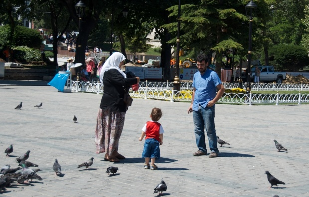 feeding birds around Sultanahmet