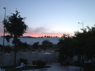 sunset over Pamukkale hill