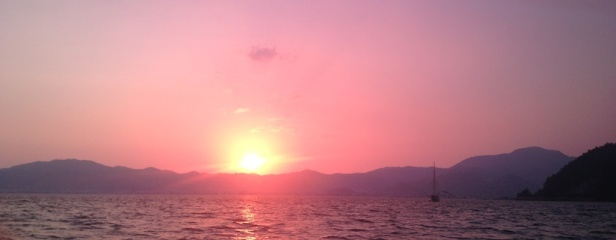 sunset behind Marmaris