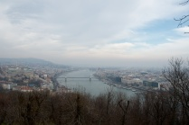 the Danube separates Buda and Pest, although I always forgot which side was which