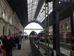 arriving at the Budapest station