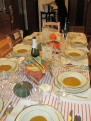 squash soup and sparkling cider for starters