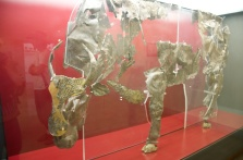 a silver and gold bull, lifesize, from the 6th century B.C.