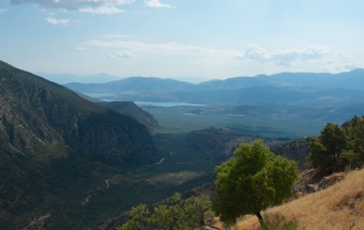 the view to the sea from Mt. Parnassus