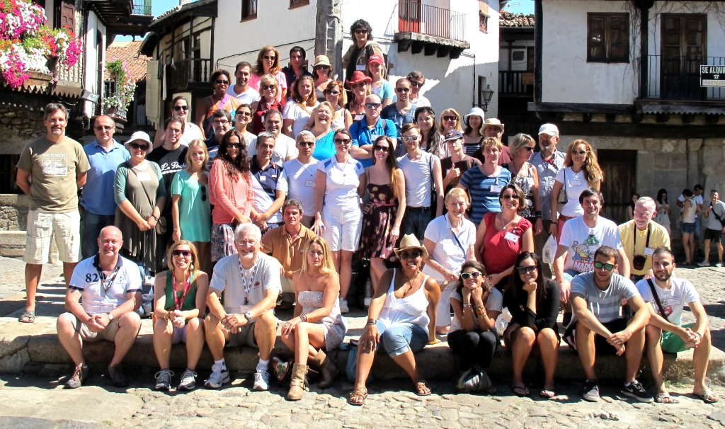 the whole group in the town square of La Alberca.  I'm in a the middle of the top row, in a hat.