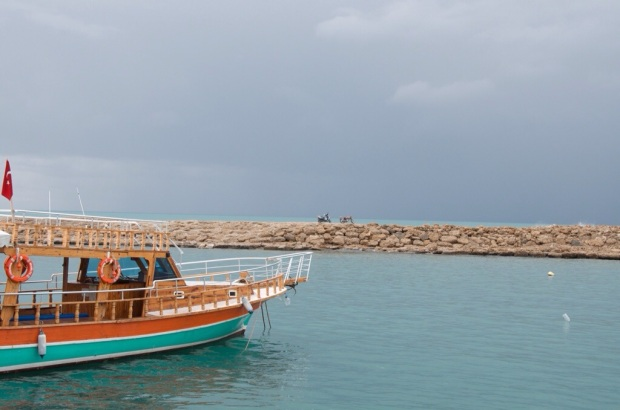 A typical boat anchored in Side's harbor
