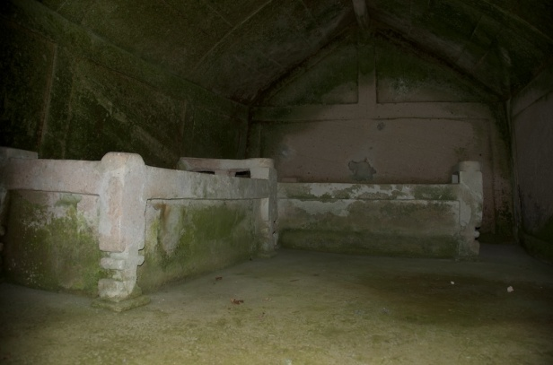 inside a tomb - notice the carved ceiling