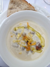 chestnut, corn soup with wild mushrooms